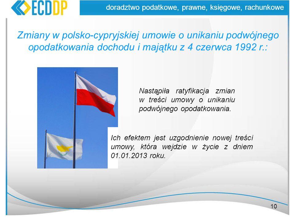10 doradztwo podatkowe, prawne, księgowe, rachunkowe Zmiany w polsko-cypryjskiej umowie o unikaniu podwójnego opodatkowania dochodu i majątku z 4 czer