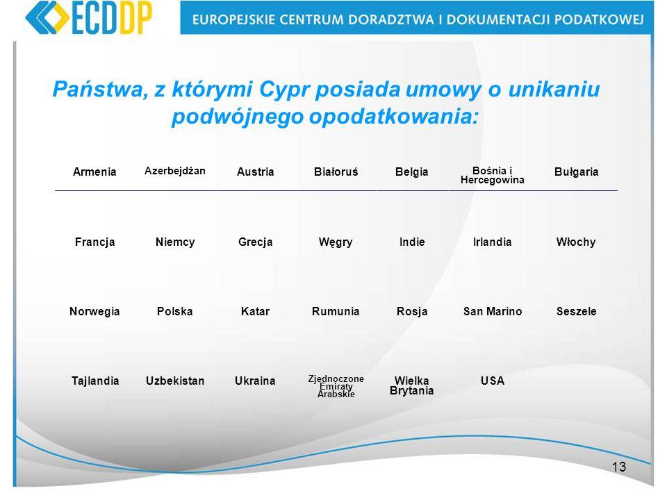 13 Państwa, z którymi Cypr posiada umowy o unikaniu podwójnego opodatkowania: Armenia Azerbejdżan AustriaBiałoruśBelgia Bośnia i Hercegowina Bułgaria