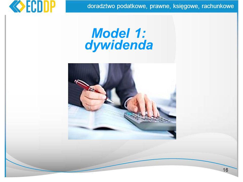 16 doradztwo podatkowe, prawne, księgowe, rachunkowe Model 1: dywidenda