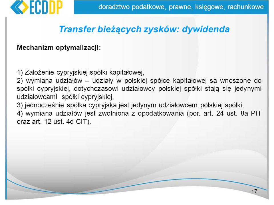 17 doradztwo podatkowe, prawne, księgowe, rachunkowe Transfer bieżących zysków: dywidenda Mechanizm optymalizacji: 1) Założenie cypryjskiej spółki kap