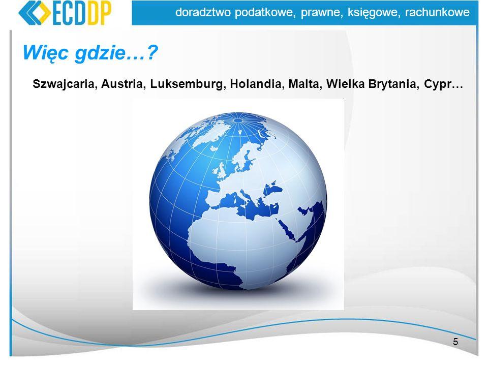 5 doradztwo podatkowe, prawne, księgowe, rachunkowe Więc gdzie…? Szwajcaria, Austria, Luksemburg, Holandia, Malta, Wielka Brytania, Cypr…