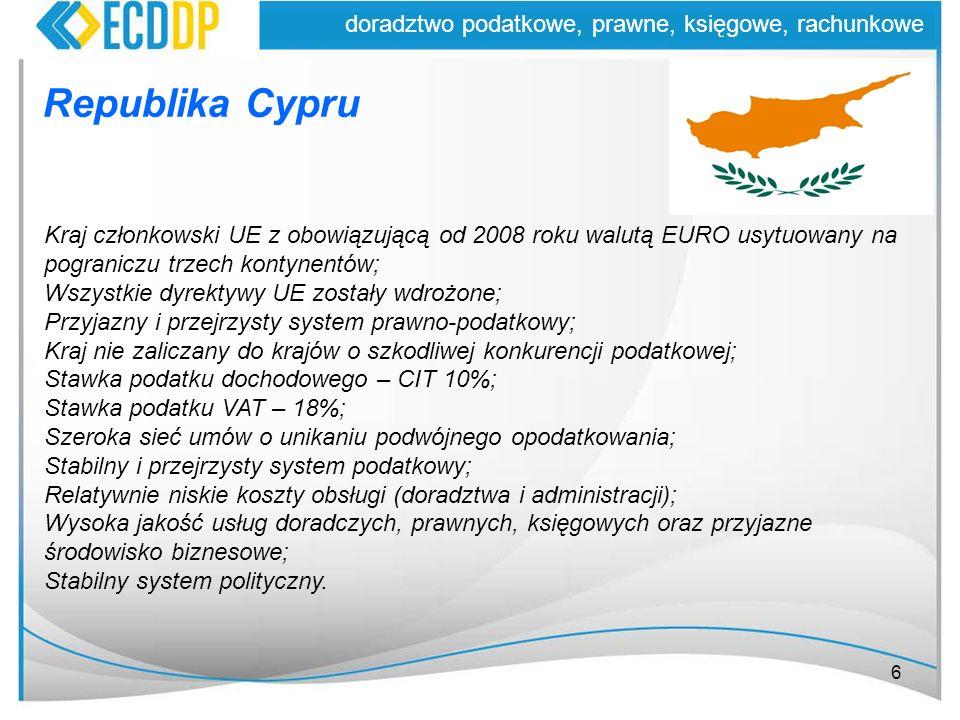 6 doradztwo podatkowe, prawne, księgowe, rachunkowe Republika Cypru Kraj członkowski UE z obowiązującą od 2008 roku walutą EURO usytuowany na pogranic