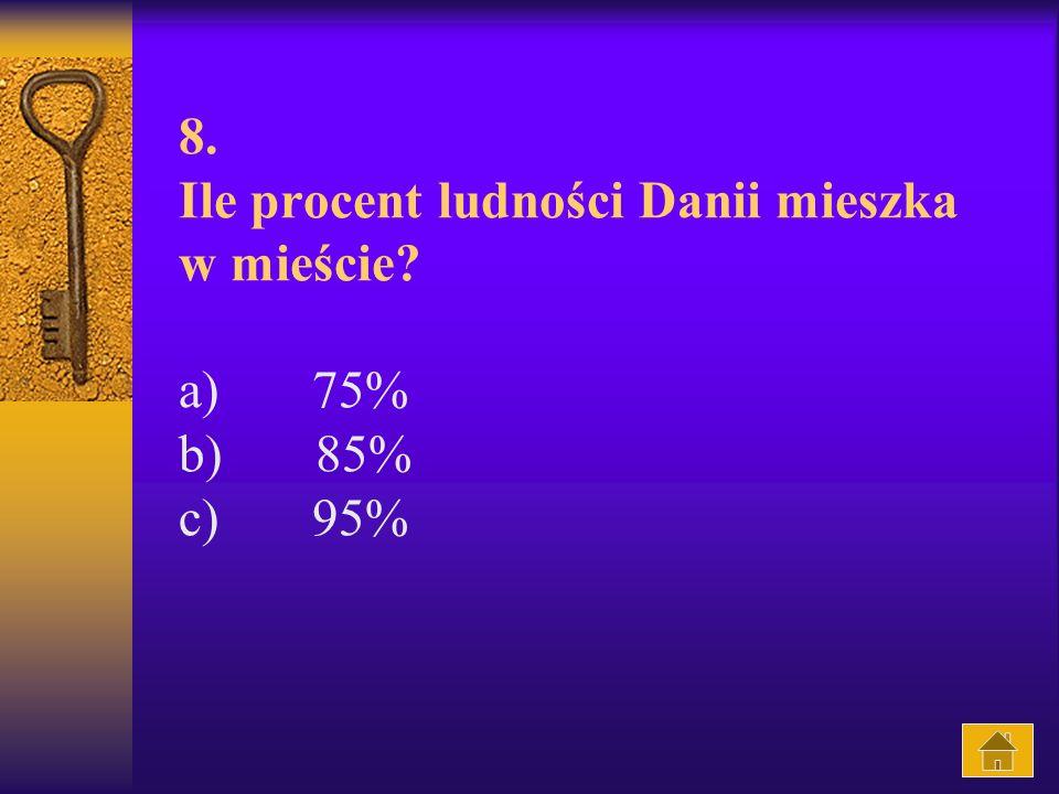 8. Ile procent ludności Danii mieszka w mieście? a) 75% b) 85% c) 95%