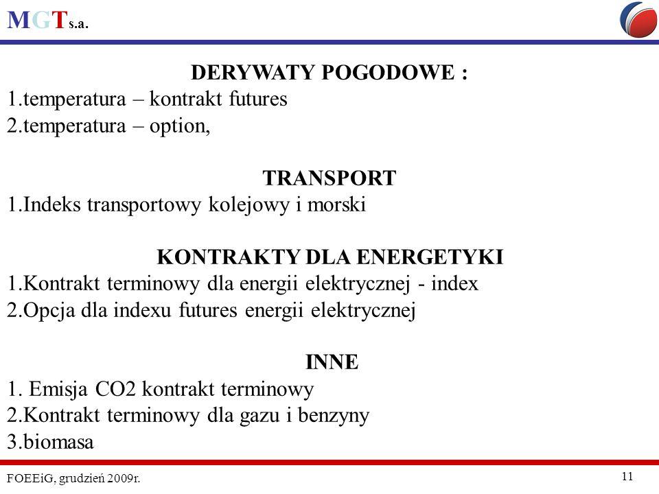 MGT s.a. FOEEiG, grudzień 2009r. 11 DERYWATY POGODOWE : 1.temperatura – kontrakt futures 2.temperatura – option, TRANSPORT 1.Indeks transportowy kolej