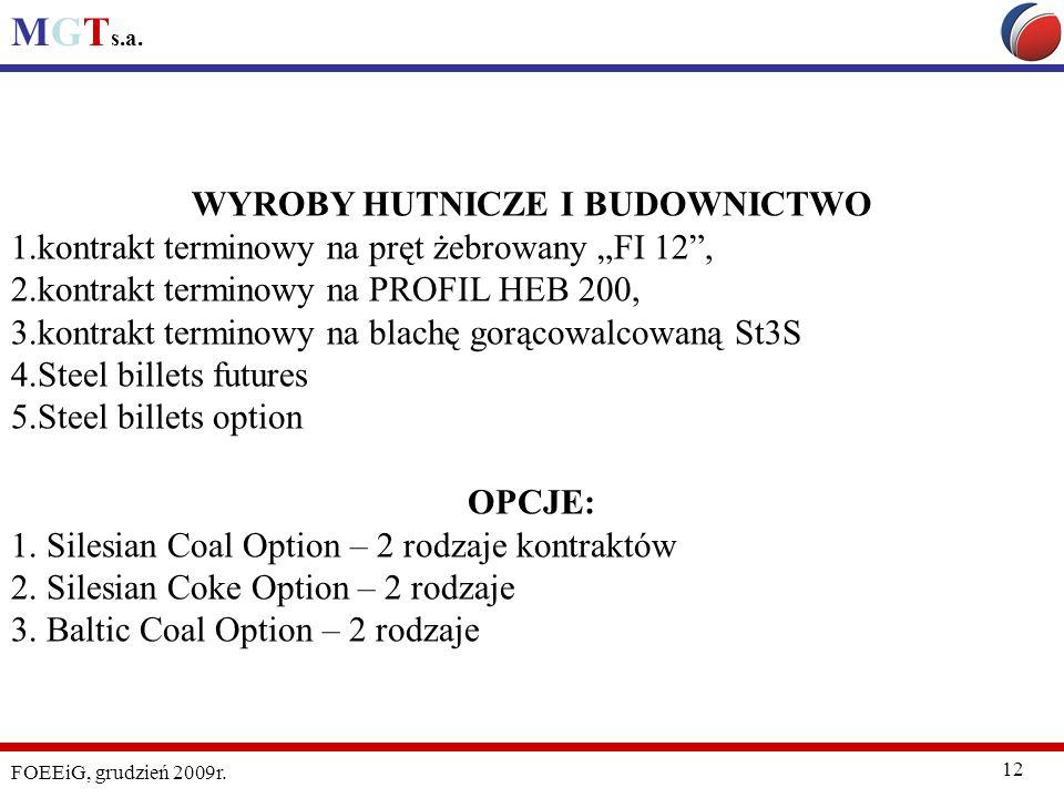 MGT s.a. FOEEiG, grudzień 2009r. 12 WYROBY HUTNICZE I BUDOWNICTWO 1.kontrakt terminowy na pręt żebrowany FI 12, 2.kontrakt terminowy na PROFIL HEB 200