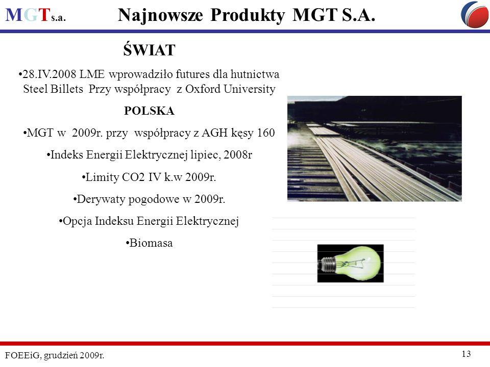 MGT s.a. FOEEiG, grudzień 2009r. 13 Najnowsze Produkty MGT S.A. ŚWIAT 28.IV.2008 LME wprowadziło futures dla hutnictwa Steel Billets Przy współpracy z
