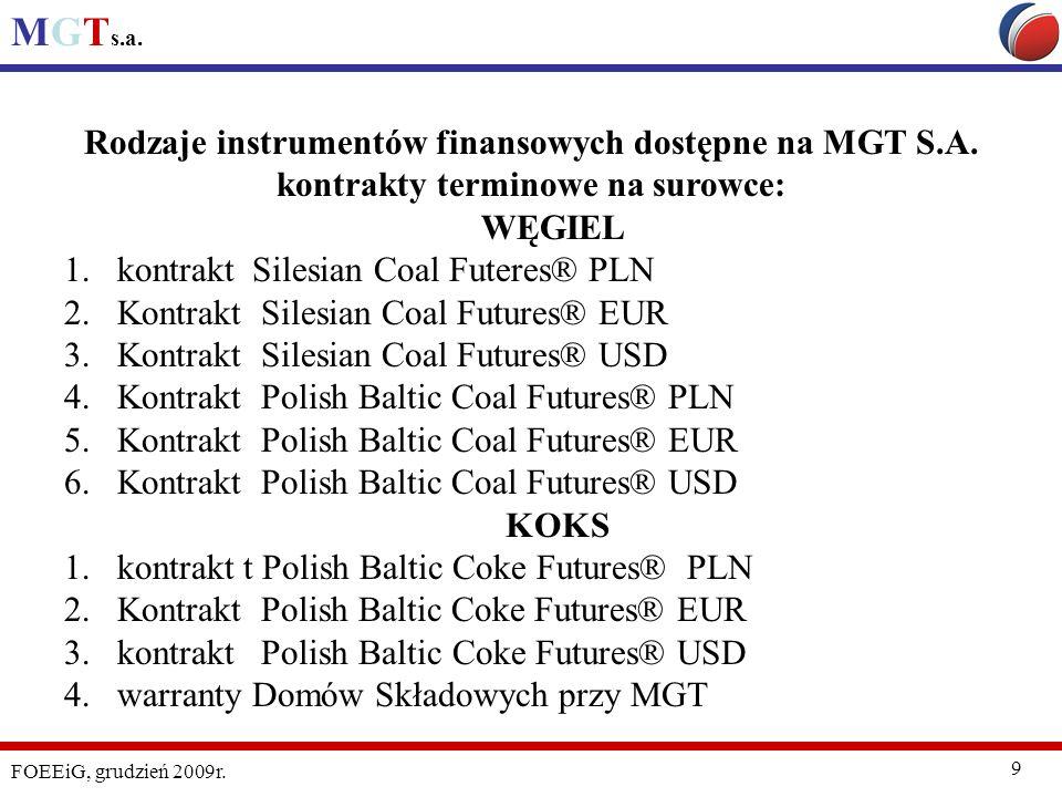MGT s.a. FOEEiG, grudzień 2009r. 9 Rodzaje instrumentów finansowych dostępne na MGT S.A. kontrakty terminowe na surowce: WĘGIEL 1.kontrakt Silesian Co