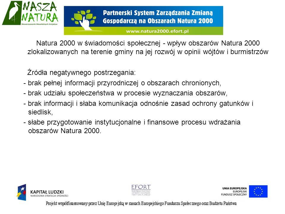 Źródła negatywnego postrzegania: - brak pełnej informacji przyrodniczej o obszarach chronionych, - brak udziału społeczeństwa w procesie wyznaczania o