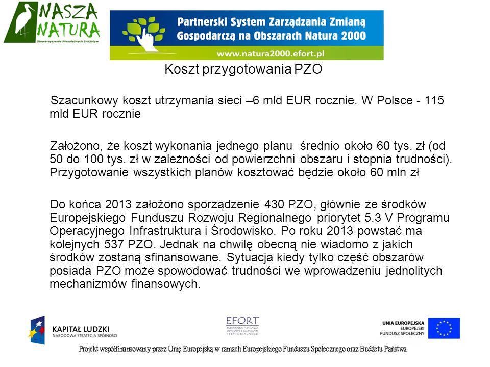 Szacunkowy koszt utrzymania sieci –6 mld EUR rocznie. W Polsce - 115 mld EUR rocznie Założono, że koszt wykonania jednego planu średnio około 60 tys.
