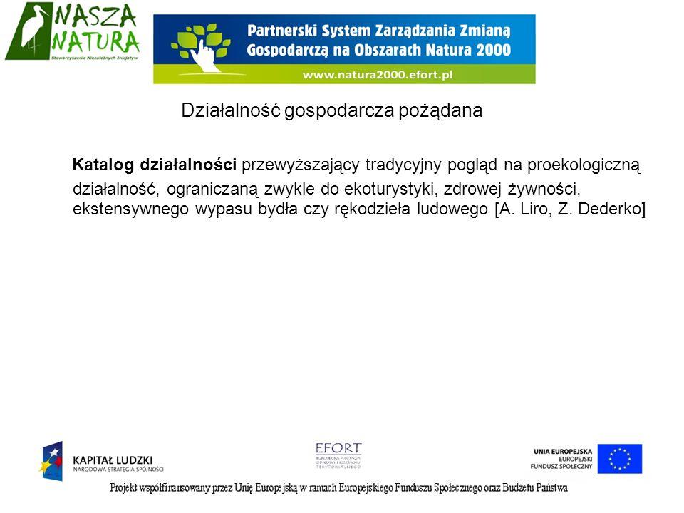 Katalog działalności przewyższający tradycyjny pogląd na proekologiczną działalność, ograniczaną zwykle do ekoturystyki, zdrowej żywności, ekstensywne