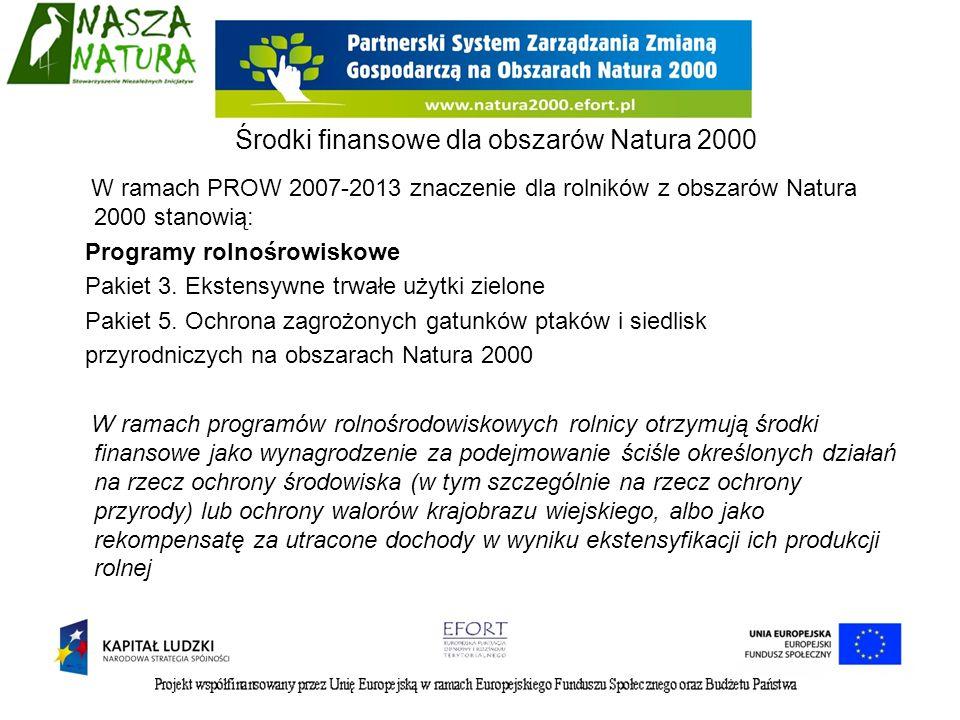 Środki finansowe dla obszarów Natura 2000 W ramach PROW 2007-2013 znaczenie dla rolników z obszarów Natura 2000 stanowią: Programy rolnośrowiskowe Pak