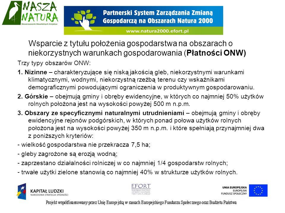 Wsparcie z tytułu położenia gospodarstwa na obszarach o niekorzystnych warunkach gospodarowania (Płatności ONW) Trzy typy obszarów ONW: 1. Nizinne – c