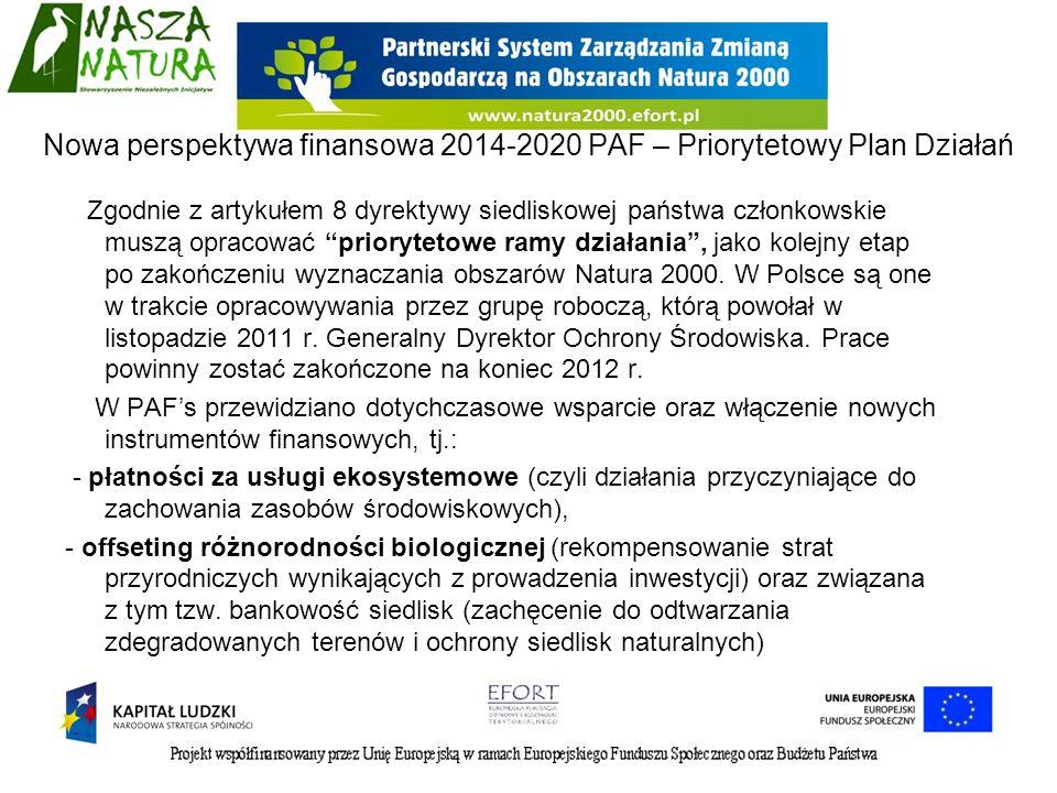 Zgodnie z artykułem 8 dyrektywy siedliskowej państwa członkowskie muszą opracować priorytetowe ramy działania, jako kolejny etap po zakończeniu wyznac