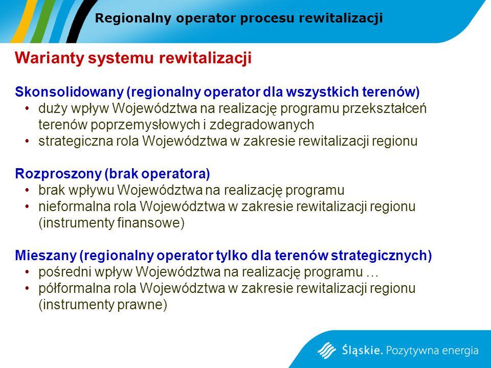 Regionalny operator procesu rewitalizacji Warianty systemu rewitalizacji Skonsolidowany (regionalny operator dla wszystkich terenów) duży wpływ Województwa na realizację programu przekształceń terenów poprzemysłowych i zdegradowanych strategiczna rola Województwa w zakresie rewitalizacji regionu Rozproszony (brak operatora) brak wpływu Województwa na realizację programu nieformalna rola Województwa w zakresie rewitalizacji regionu (instrumenty finansowe) Mieszany (regionalny operator tylko dla terenów strategicznych) pośredni wpływ Województwa na realizację programu … półformalna rola Województwa w zakresie rewitalizacji regionu (instrumenty prawne)