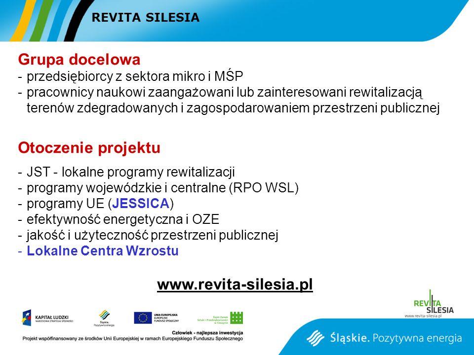 Grupa docelowa -przedsiębiorcy z sektora mikro i MŚP -pracownicy naukowi zaangażowani lub zainteresowani rewitalizacją terenów zdegradowanych i zagospodarowaniem przestrzeni publicznej Otoczenie projektu -JST - lokalne programy rewitalizacji -programy wojewódzkie i centralne (RPO WSL) -programy UE (JESSICA) -efektywność energetyczna i OZE -jakość i użyteczność przestrzeni publicznej -Lokalne Centra Wzrostu www.revita-silesia.pl REVITA SILESIA