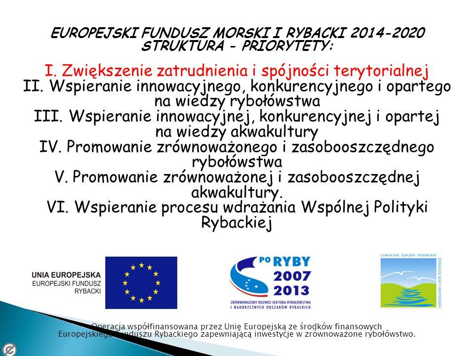EUROPEJSKI FUNDUSZ MORSKI I RYBACKI 2014-2020 STRUKTURA - PRIORYTETY: I. Zwiększenie zatrudnienia i spójności terytorialnej II. Wspieranie innowacyjne