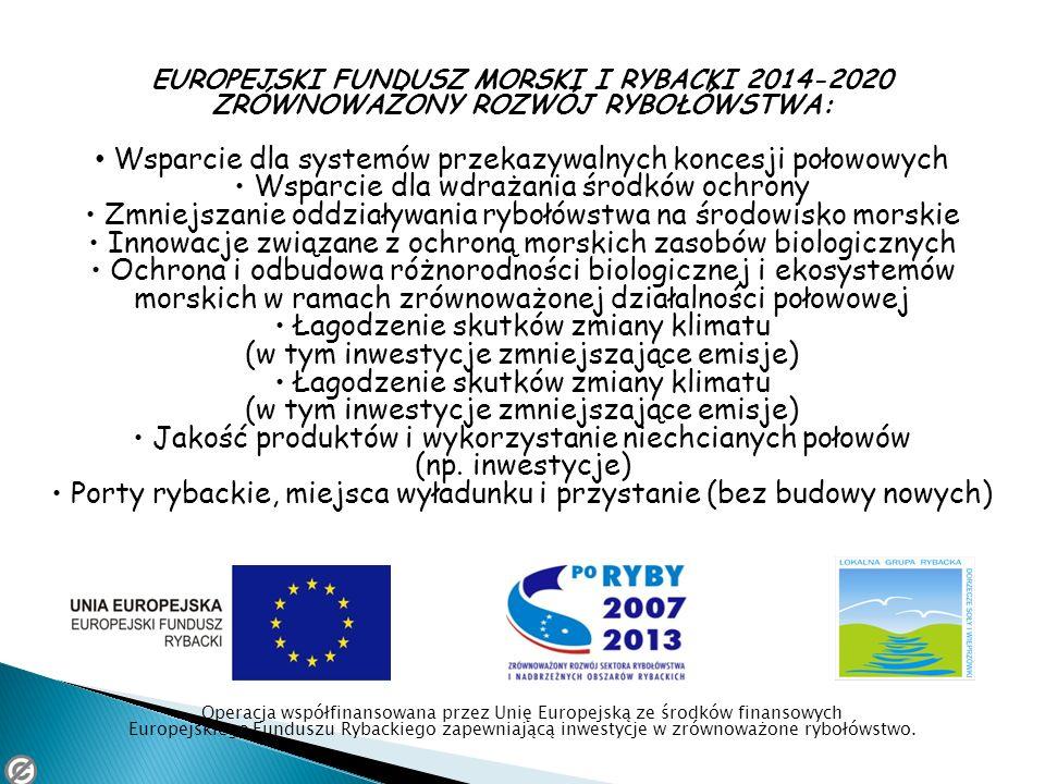 EUROPEJSKI FUNDUSZ MORSKI I RYBACKI 2014-2020 ZRÓWNOWAŻONY ROZWÓJ RYBOŁÓWSTWA: Wsparcie dla systemów przekazywalnych koncesji połowowych Wsparcie dla