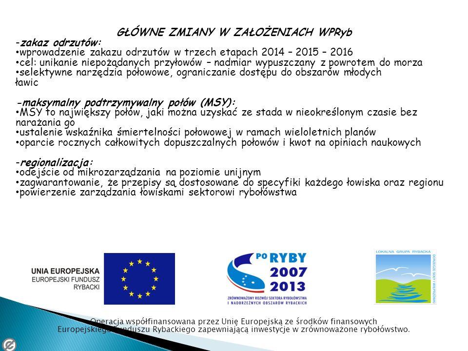 GŁÓWNE ZMIANY W ZAŁOŻENIACH WPRyb -zakaz odrzutów: wprowadzenie zakazu odrzutów w trzech etapach 2014 – 2015 – 2016 cel: unikanie niepożądanych przyło
