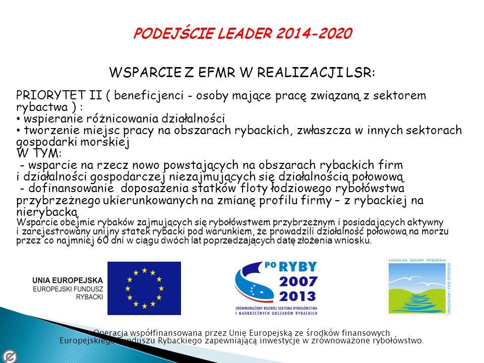 PODEJŚCIE LEADER 2014-2020 WSPARCIE Z EFMR W REALIZACJI LSR: PRIORYTET II ( beneficjenci - osoby mające pracę związaną z sektorem rybactwa ) : wspiera