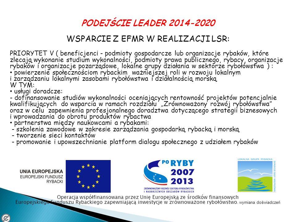 PODEJŚCIE LEADER 2014-2020 WSPARCIE Z EFMR W REALIZACJI LSR: PRIORYTET V ( beneficjenci - podmioty gospodarcze lub organizacje rybaków, które zlecają
