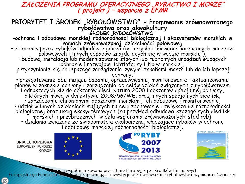 ZAŁOŻENIA PROGRAMU OPERACYJNEGO RYBACTWO I MORZE ( projekt ) – wsparcie z EFMR PRIORYTET I ŚRODEK RYBOŁÓWSTWO - Promowanie zrównoważonego rybołówstwa