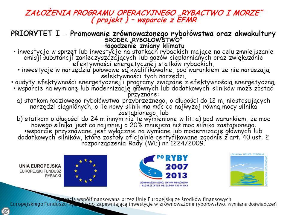 ZAŁOŻENIA PROGRAMU OPERACYJNEGO RYBACTWO I MORZE ( projekt ) – wsparcie z EFMR PRIORYTET I - Promowanie zrównoważonego rybołówstwa oraz akwakultury ŚR