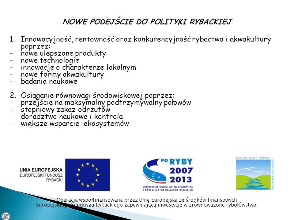 NOWE PODEJŚCIE DO POLITYKI RYBACKIEJ 1.Innowacyjność, rentowność oraz konkurencyjność rybactwa i akwakultury poprzez: -nowe ulepszone produkty -nowe t