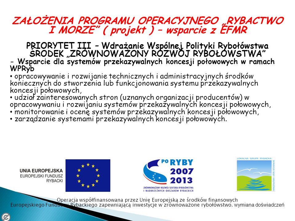 ZAŁOŻENIA PROGRAMU OPERACYJNEGO RYBACTWO I MORZE ( projekt ) – wsparcie z EFMR PRIORYTET III – Wdrażanie Wspólnej Polityki Rybołówstwa ŚRODEK ZRÓWNOWA