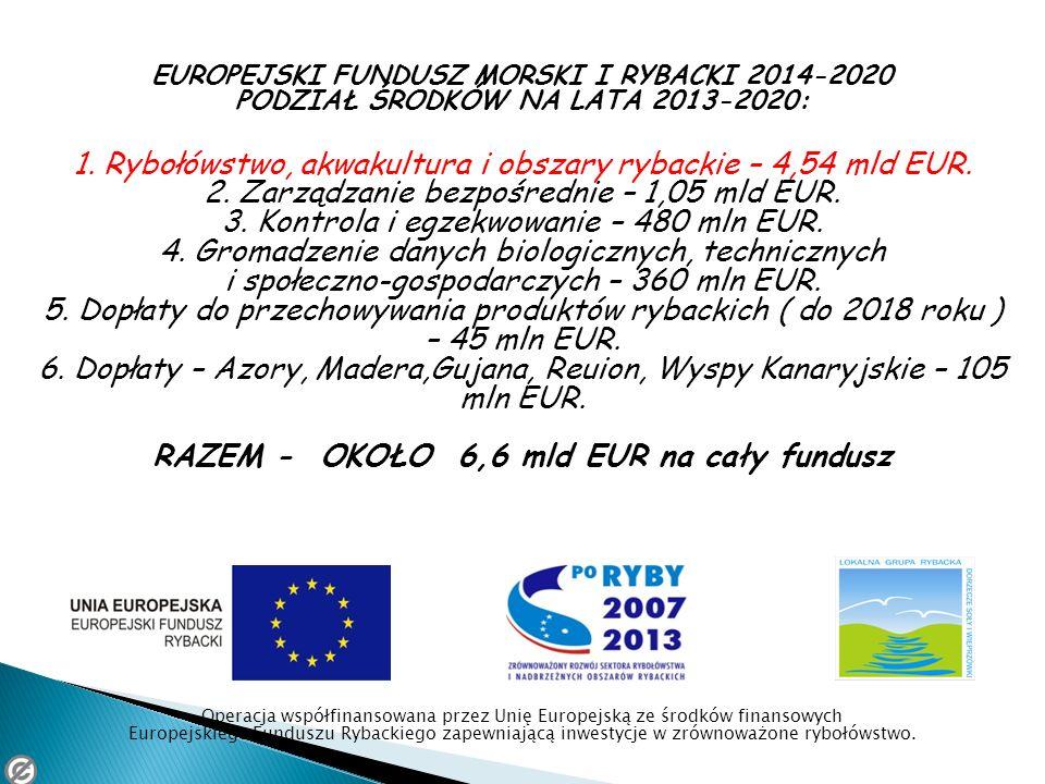 EUROPEJSKI FUNDUSZ MORSKI I RYBACKI 2014-2020 PODZIAŁ ŚRODKÓW NA LATA 2013-2020: 1. Rybołówstwo, akwakultura i obszary rybackie – 4,54 mld EUR. 2. Zar