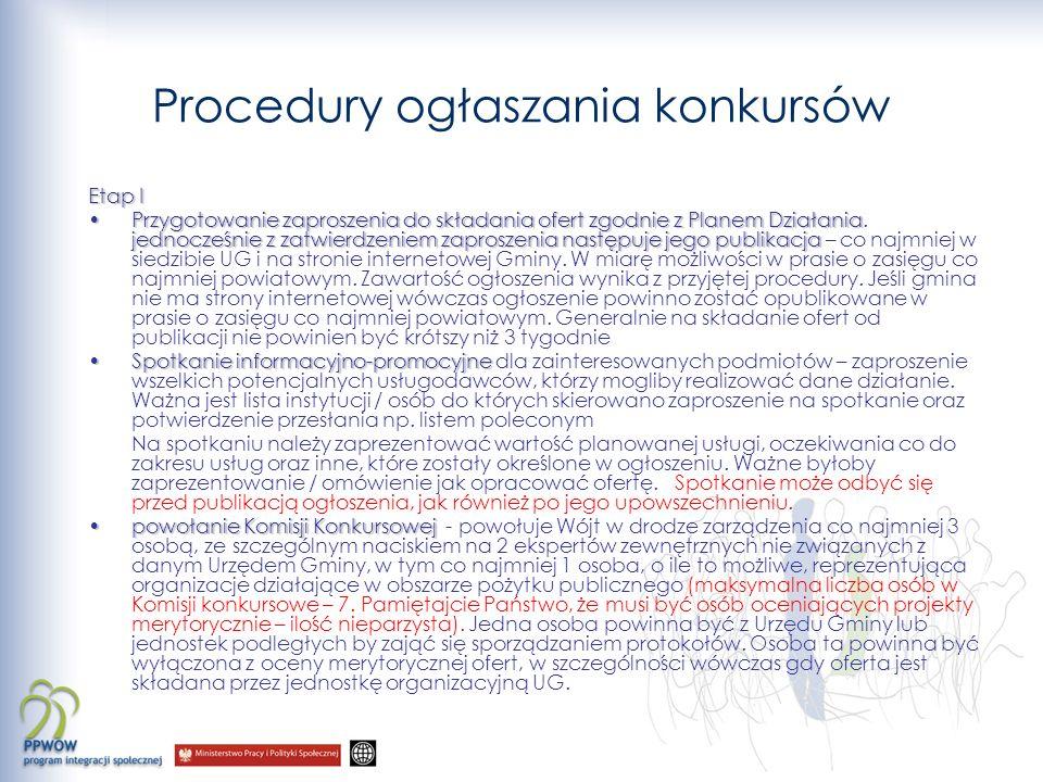 Procedury ogłaszania konkursów Etap I Przygotowanie zaproszenia do składania ofert zgodnie z Planem Działania jednocześnie z zatwierdzeniem zaproszenia następuje jego publikacjaPrzygotowanie zaproszenia do składania ofert zgodnie z Planem Działania.