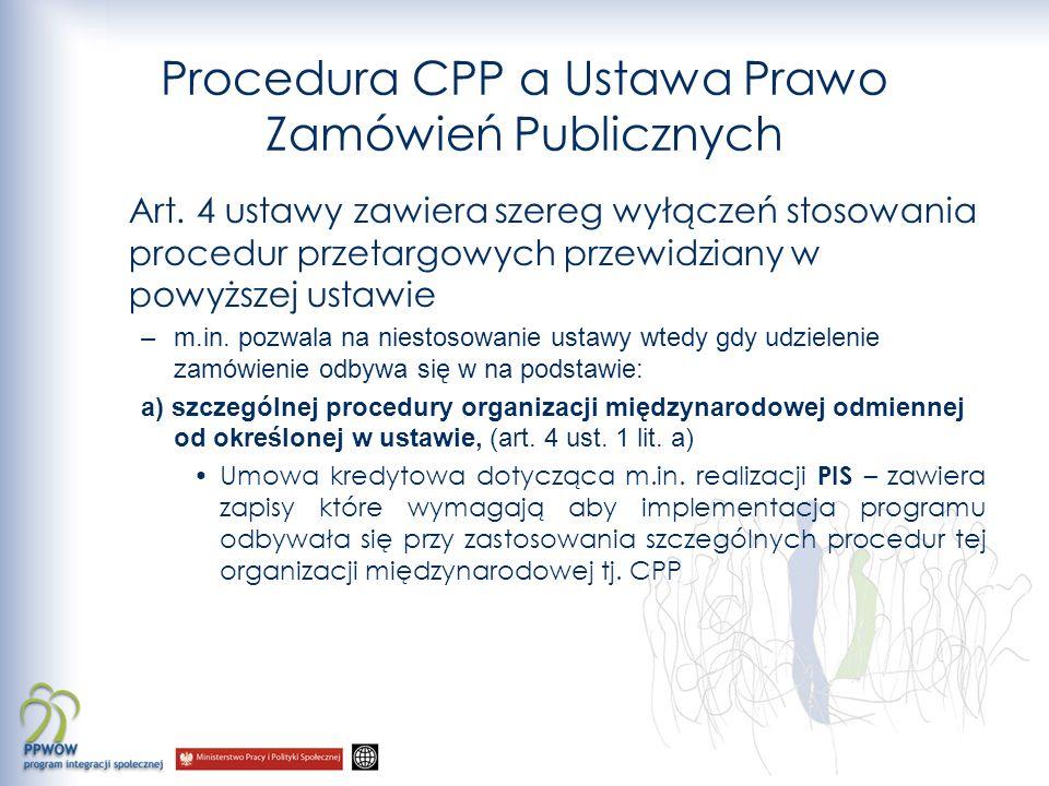 Procedura CPP a Ustawa Prawo Zamówień Publicznych Art.