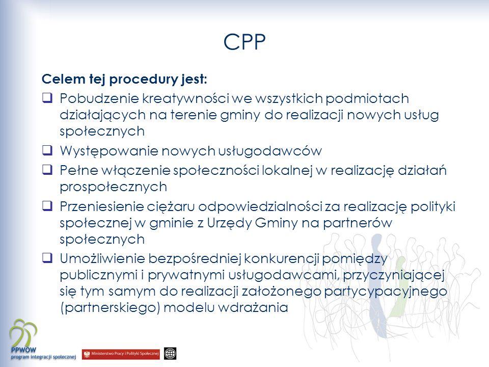 CPP Celem tej procedury jest: Pobudzenie kreatywności we wszystkich podmiotach działających na terenie gminy do realizacji nowych usług społecznych Występowanie nowych usługodawców Pełne włączenie społeczności lokalnej w realizację działań prospołecznych Przeniesienie ciężaru odpowiedzialności za realizację polityki społecznej w gminie z Urzędy Gminy na partnerów społecznych Umożliwienie bezpośredniej konkurencji pomiędzy publicznymi i prywatnymi usługodawcami, przyczyniającej się tym samym do realizacji założonego partycypacyjnego (partnerskiego) modelu wdrażania