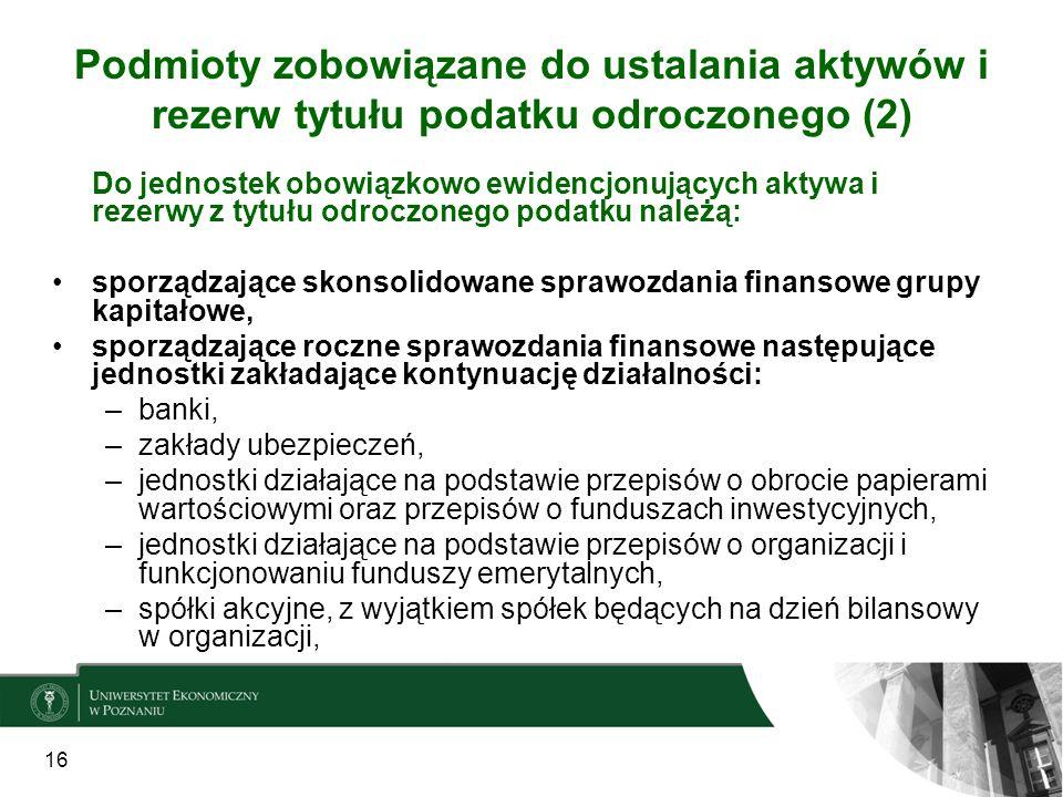 Podmioty zobowiązane do ustalania aktywów i rezerw tytułu podatku odroczonego (2) 16 Do jednostek obowiązkowo ewidencjonujących aktywa i rezerwy z tyt
