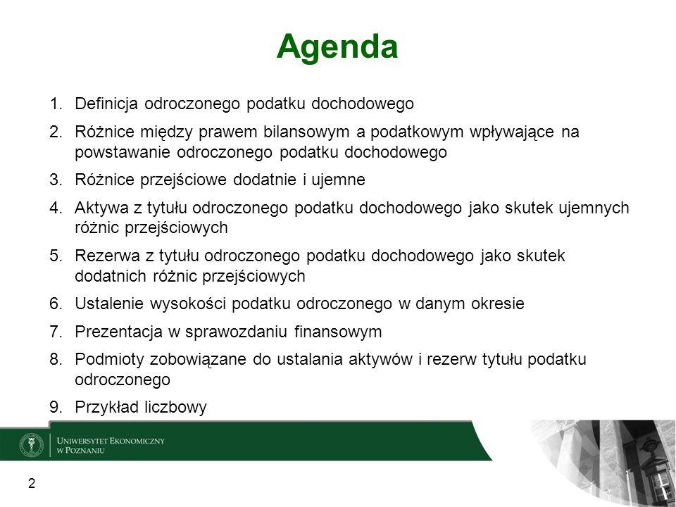 Agenda 1.Definicja odroczonego podatku dochodowego 2.Różnice między prawem bilansowym a podatkowym wpływające na powstawanie odroczonego podatku docho