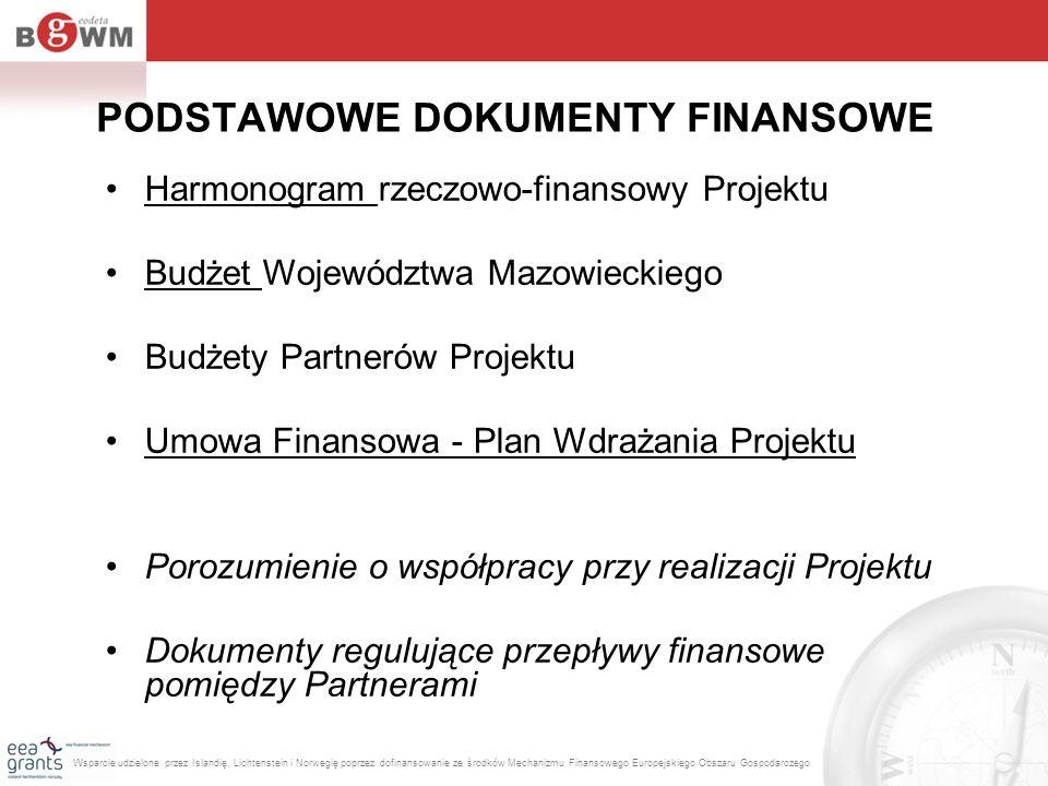 PODSTAWOWE DOKUMENTY FINANSOWE Harmonogram rzeczowo-finansowy Projektu Budżet Województwa Mazowieckiego Budżety Partnerów Projektu Umowa Finansowa - P
