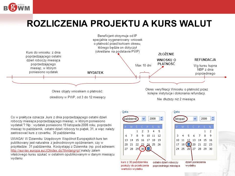 Okres objęty wnioskiem o płatność: określony w PWP, od 3 do 12 miesięcy Okres weryfikacji Wniosku o płatność przez kolejne instytucje i dokonania refu