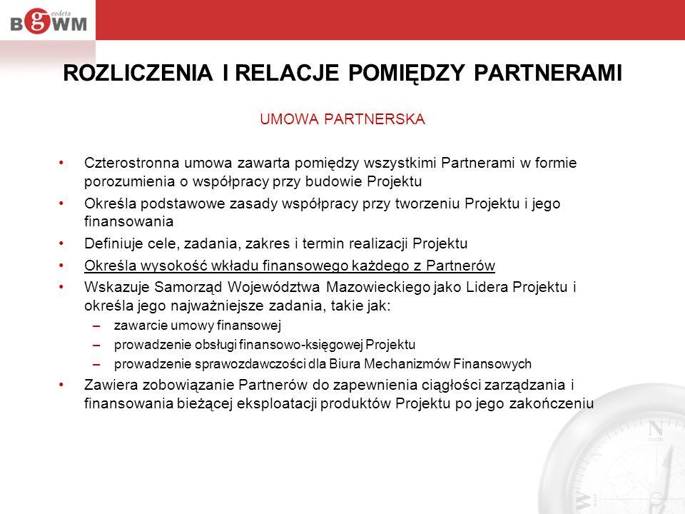 ROZLICZENIA I RELACJE POMIĘDZY PARTNERAMI UMOWA PARTNERSKA Czterostronna umowa zawarta pomiędzy wszystkimi Partnerami w formie porozumienia o współpra