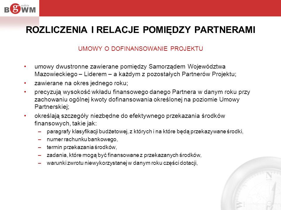 ROZLICZENIA I RELACJE POMIĘDZY PARTNERAMI UMOWY O DOFINANSOWANIE PROJEKTU umowy dwustronne zawierane pomiędzy Samorządem Województwa Mazowieckiego – L