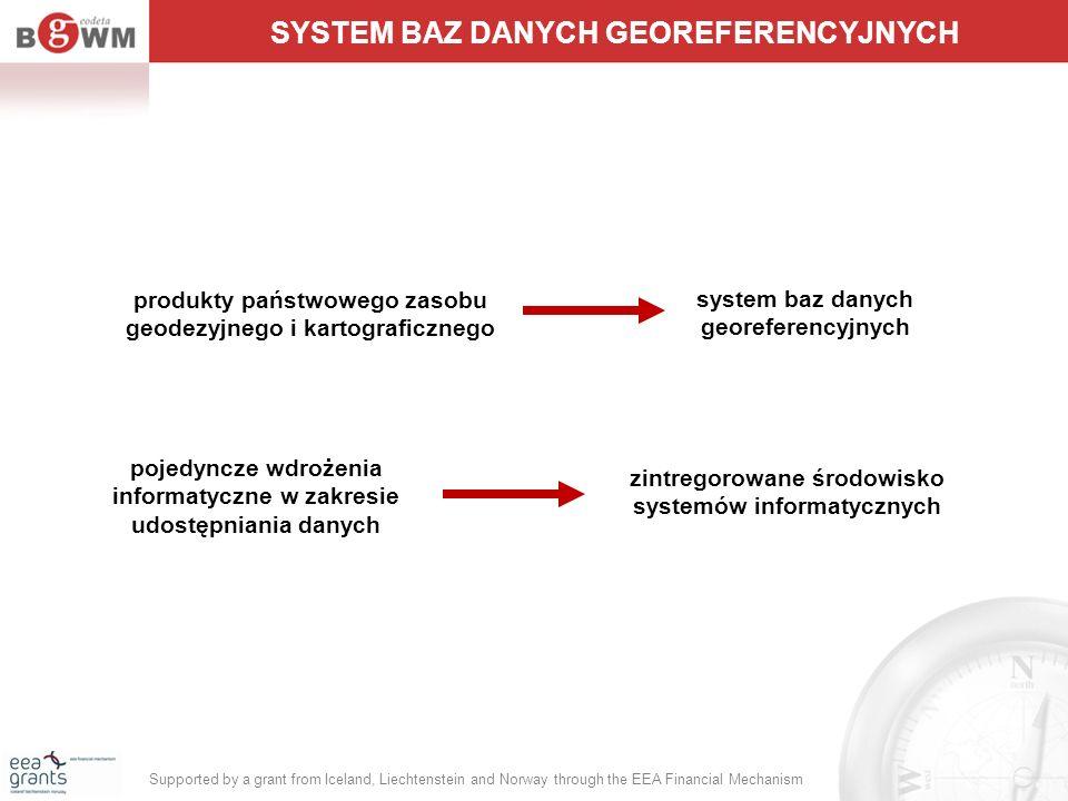 produkty państwowego zasobu geodezyjnego i kartograficznego SYSTEM BAZ DANYCH GEOREFERENCYJNYCH system baz danych georeferencyjnych pojedyncze wdrożen