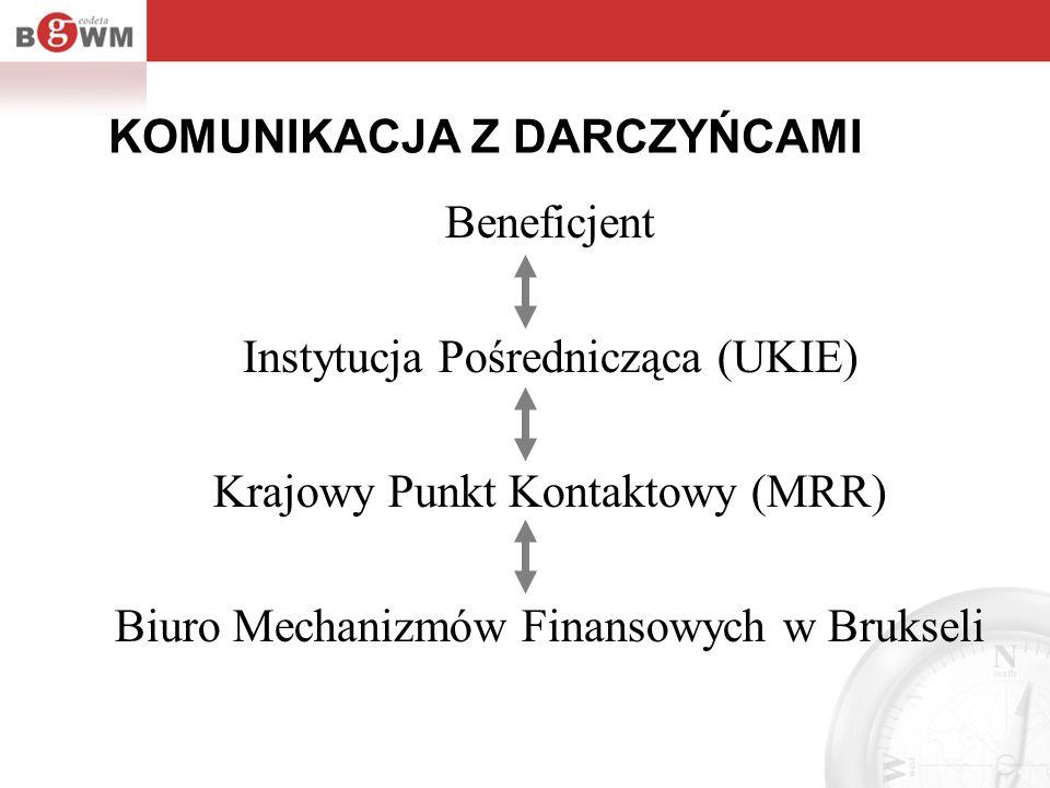 KOMUNIKACJA Z DARCZYŃCAMI Beneficjent Instytucja Pośrednicząca (UKIE) Krajowy Punkt Kontaktowy (MRR) Biuro Mechanizmów Finansowych w Brukseli