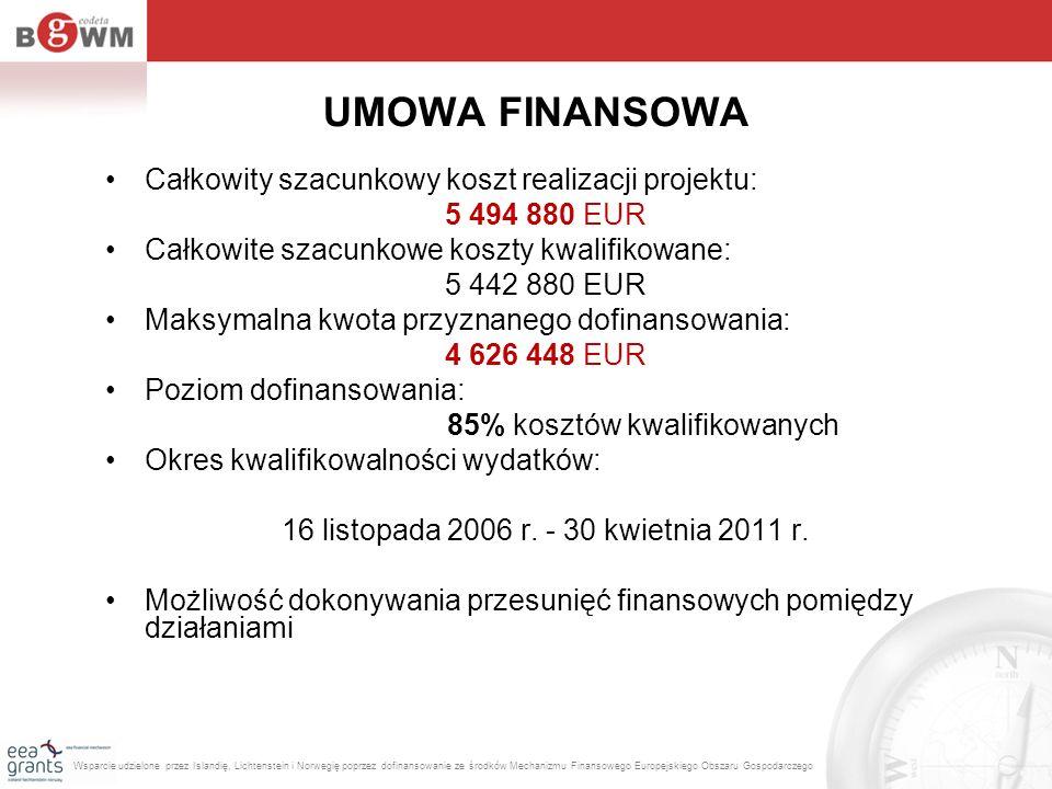 UMOWA FINANSOWA Całkowity szacunkowy koszt realizacji projektu: 5 494 880 EUR Całkowite szacunkowe koszty kwalifikowane: 5 442 880 EUR Maksymalna kwot