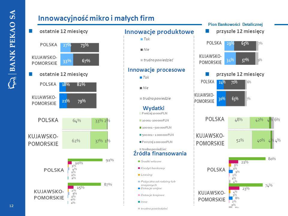 Pion Bankowości Detalicznej ostatnie 12 miesięcy Innowacyjność mikro i małych firm Pion Bankowości Detalicznej przyszłe 12 miesięcy Innowacje produktowe Innowacje procesowe ostatnie 12 miesięcyprzyszłe 12 miesięcy Wydatki Źródła finansowania 12
