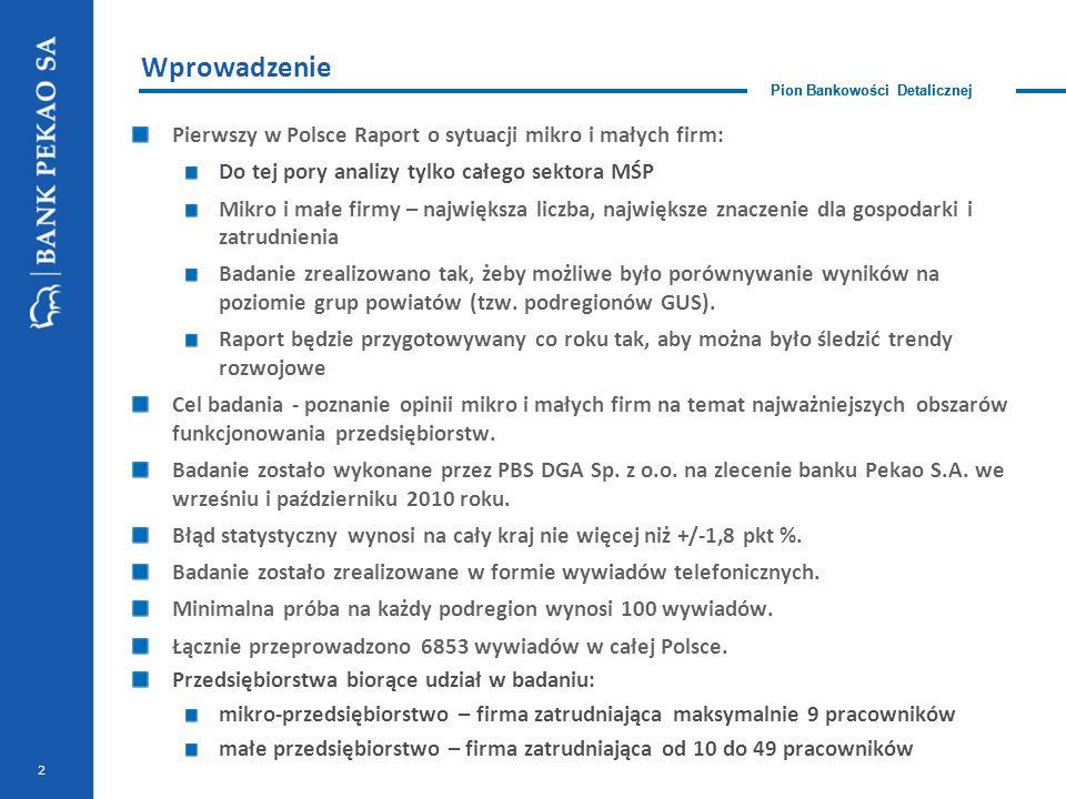 Pion Bankowości Detalicznej 2 Wprowadzenie Pierwszy w Polsce Raport o sytuacji mikro i małych firm: Do tej pory analizy tylko całego sektora MŚP Mikro i małe firmy – największa liczba, największe znaczenie dla gospodarki i zatrudnienia Badanie zrealizowano tak, żeby możliwe było porównywanie wyników na poziomie grup powiatów (tzw.