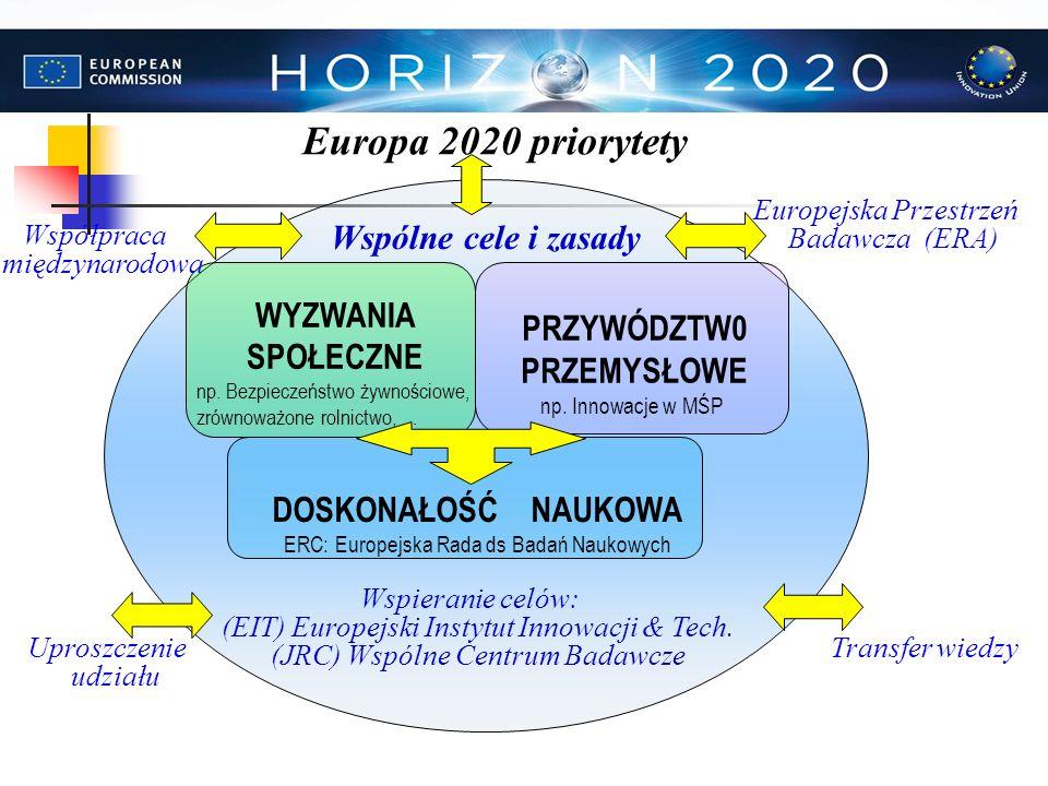 PRZYWÓDZTW0 PRZEMYSŁOWE np. Innowacje w MŚP DOSKONAŁOŚĆ NAUKOWA ERC: Europejska Rada ds Badań Naukowych Wspólne cele i zasady Wspieranie celów: (EIT)