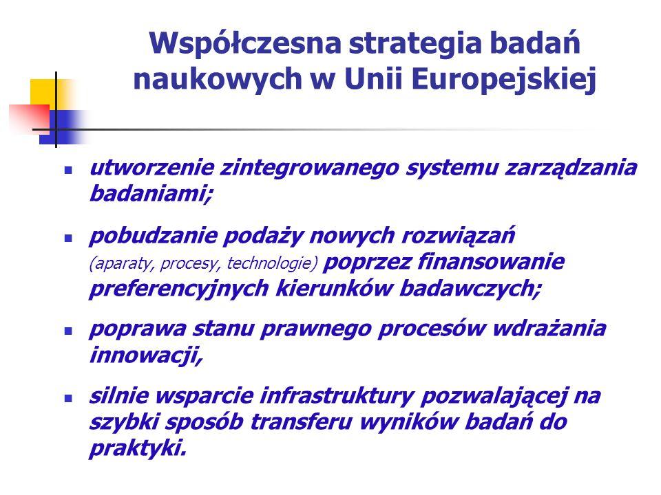 Współczesna strategia badań naukowych w Unii Europejskiej utworzenie zintegrowanego systemu zarządzania badaniami; pobudzanie podaży nowych rozwiązań