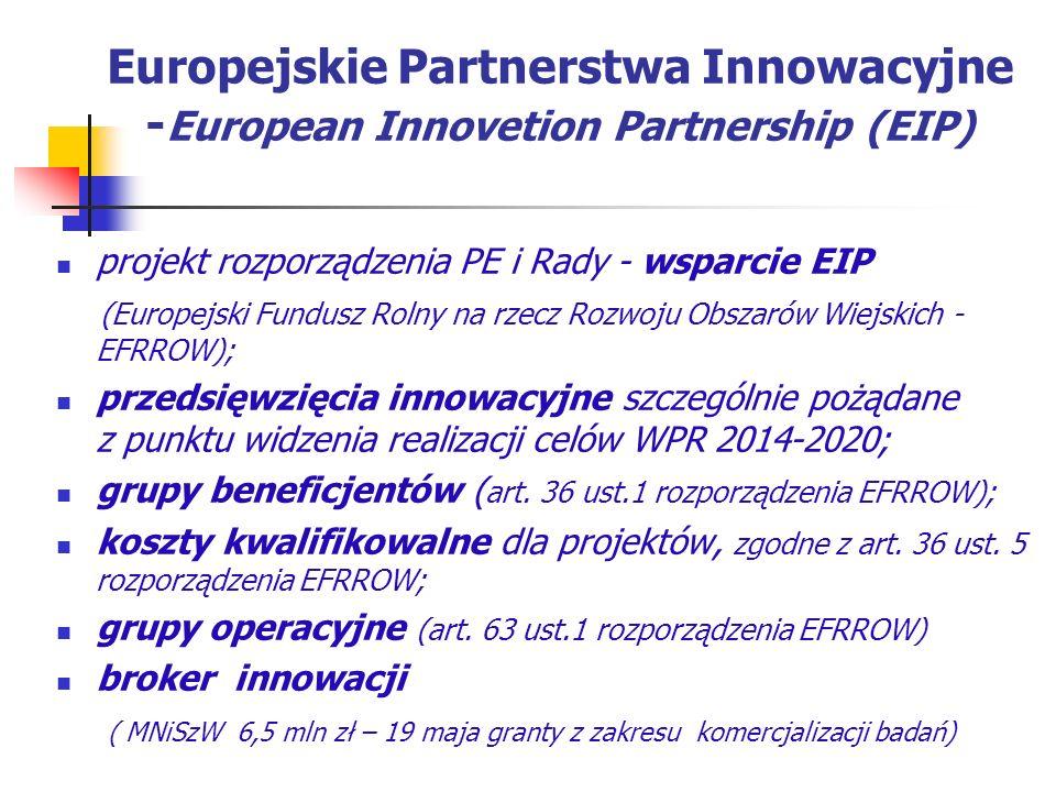 Europejskie Partnerstwa Innowacyjne - European Innovetion Partnership (EIP) projekt rozporządzenia PE i Rady - wsparcie EIP (Europejski Fundusz Rolny