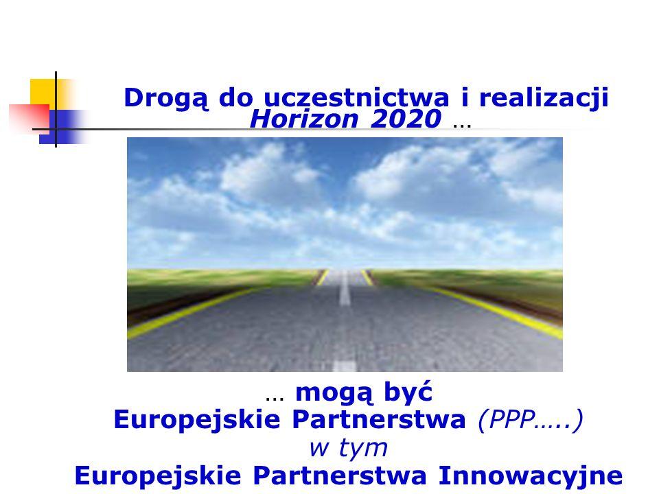 Drogą do uczestnictwa i realizacji Horizon 2020 … … mogą być Europejskie Partnerstwa (PPP…..) w tym Europejskie Partnerstwa Innowacyjne