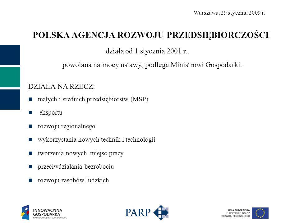 POLSKA AGENCJA ROZWOJU PRZEDSIĘBIORCZOŚCI działa od 1 stycznia 2001 r., powołana na mocy ustawy, podlega Ministrowi Gospodarki.