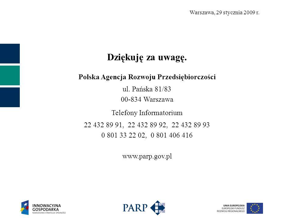 Warszawa, 29 stycznia 2009 r. Dziękuję za uwagę. Polska Agencja Rozwoju Przedsiębiorczości ul.