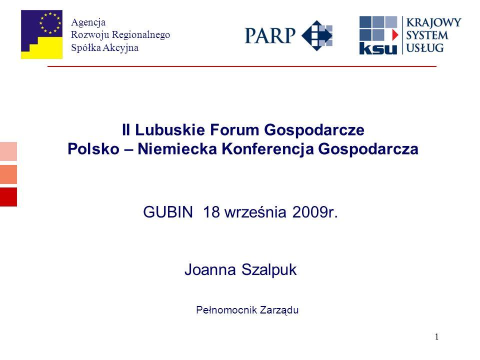 Agencja Rozwoju Regionalnego Spółka Akcyjna 1 II Lubuskie Forum Gospodarcze Polsko – Niemiecka Konferencja Gospodarcza GUBIN 18 września 2009r.